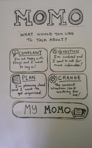MOMO Paper Prototype Homepage