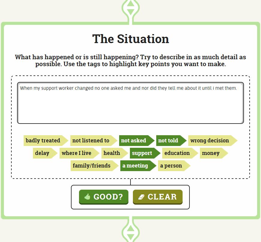 MOMO Self-advocacy App - The Situation Screenshot
